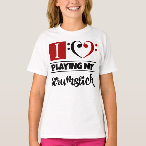 Double Black Red Bass Clef Heart I Love Playing My Strumstick T-Shirt