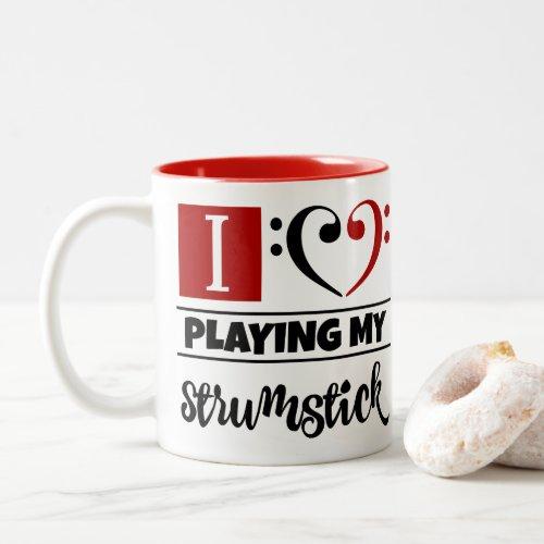 Black Red Bass Clef Heart I Love Playing My Strumstick Two-Tone Coffee Mug
