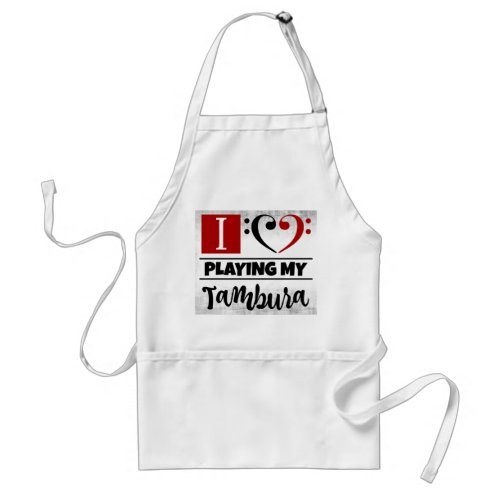 Bass Clef Heart I Love Playing My Tambura Distressed Grunge Adult Apron