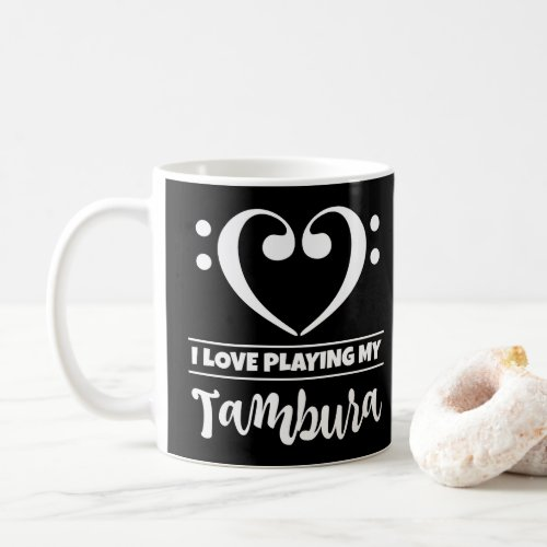 Bass Clef Heart I Love Playing My Tambura Classic Ceramic Coffee Mug