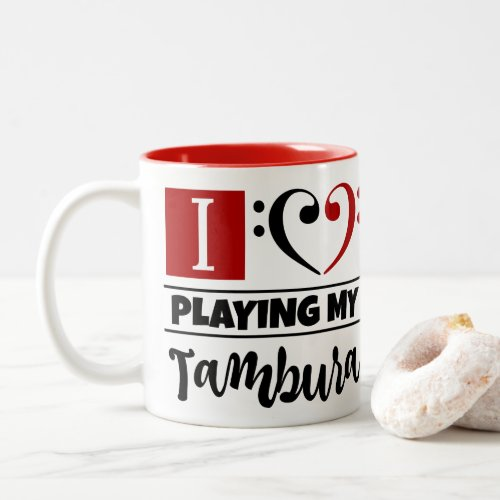 Black Red Bass Clef Heart I Love Playing My Tambura Two-Tone Coffee Mug