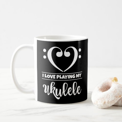 Bass Clef Heart I Love Playing My Ukulele Classic Ceramic Coffee Mug