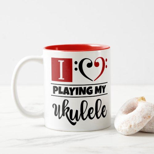 Bass Clef Heart I Love Playing My Ukulele Two-Tone Coffee Mug