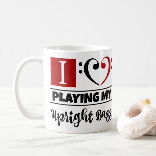 Black Red Bass Clef Heart I Love Playing My Upright Bass Coffee Mug