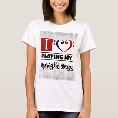 Bass Clef Heart I Love Playing My Upright Bass Distressed Grunge Basic T-Shirt