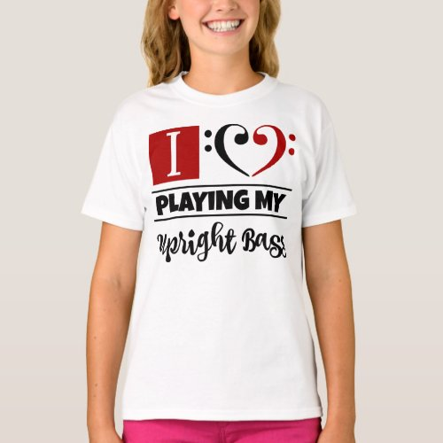 Double Black Red Bass Clef Heart I Love Playing My Upright Bass T-Shirt
