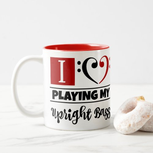 Black Red Bass Clef Heart I Love Playing My Upright Bass Two-Tone Coffee Mug