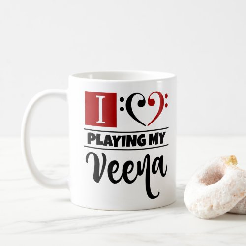 Double Black Red Bass Clef Heart I Love Playing My Veena Coffee Mug