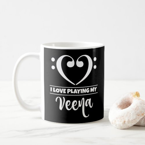 Bass Clef Heart I Love Playing My Veena Classic Ceramic Coffee Mug