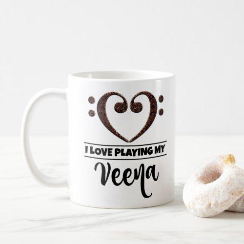 Bass Clef Heart I Love Playing My Veena Classic Ceramic Coffee Mug