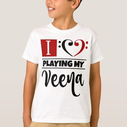 Double Black Red Bass Clef Heart I Love Playing My Veena T-Shirt