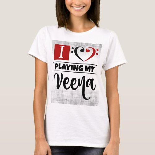 Bass Clef Heart I Love Playing My Veena Distressed Grunge Basic T-Shirt