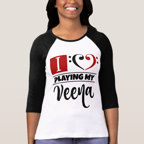 Double Black Red Bass Clef Heart I Love Playing My Veena Raglan T-Shirt