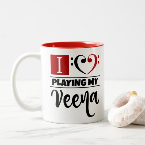 Double Black Red Bass Clef Heart I Love Playing My Veena Two-Tone Coffee Mug