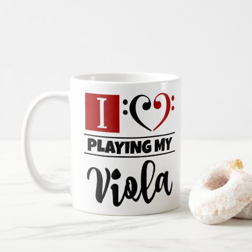 Black Red Bass Clef Heart I Love Playing My Viola Coffee Mug