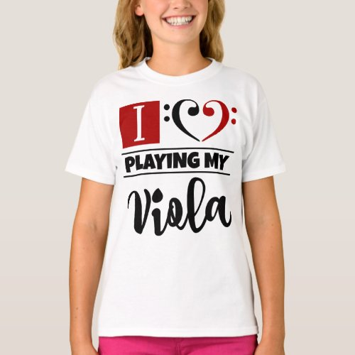 Double Black Red Bass Clef Heart I Love Playing My Viola T-Shirt