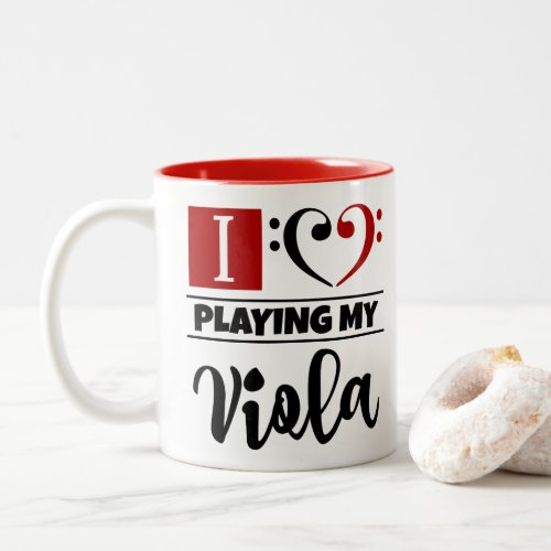 Black Red Bass Clef Heart I Love Playing My Viola Two-Tone Coffee Mug