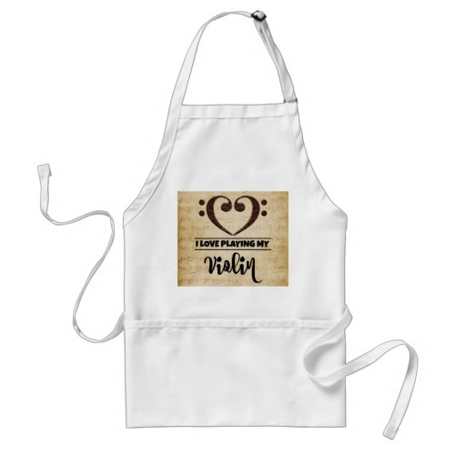 Bass Clef Heart I Love Playing My Violin Sheet Music Adult Apron