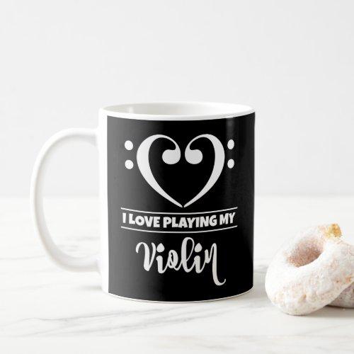 Bass Clef Heart I Love Playing My Violin Classic Ceramic Coffee Mug