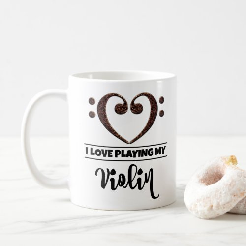 Bass Clef Heart I Love Playing My Violin Classic Ceramic Coffee Mug