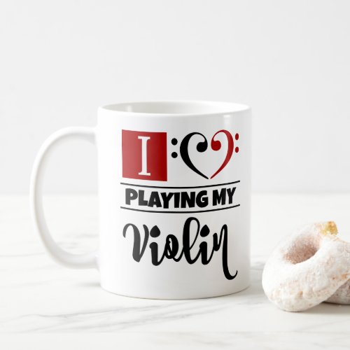 Black Red Double Bass Clef Heart I Love Playing My Violin Coffee Mug