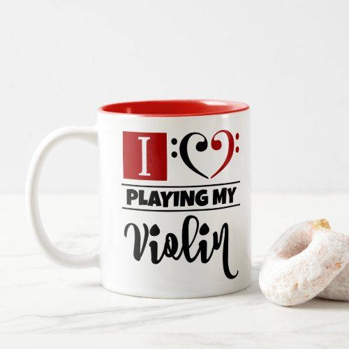 Black Red Double Bass Clef Heart I Love Playing My Violin Two-Tone Coffee Mug