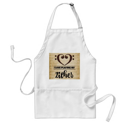 Bass Clef Heart I Love Playing My Zither Sheet Music Adult Apron
