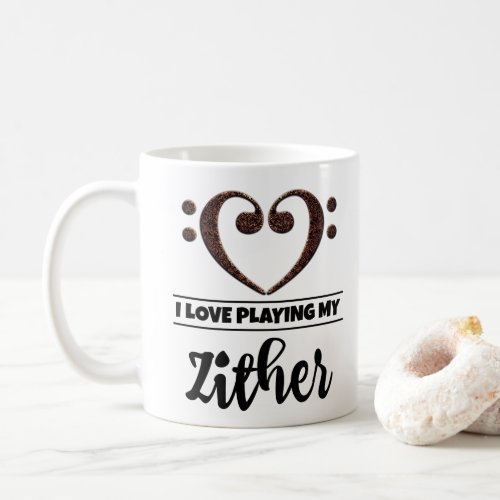 Bass Clef Heart I Love Playing My Zither Classic Ceramic Coffee Mug