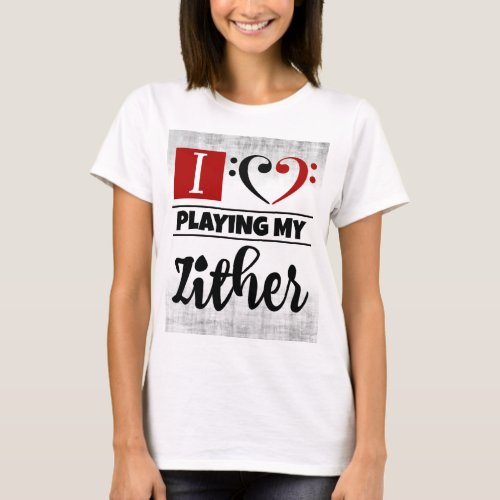 Bass Clef Heart I Love Playing My Zither Distressed Grunge Basic T-Shirt