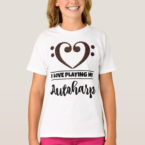 Double Bass Clef Heart I Love Playing My Autoharp Musician Autoharpist T-Shirt
