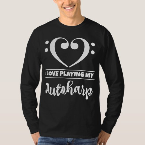 Double Bass Clef Heart I Love Playing My Autoharp Musician T-Shirt