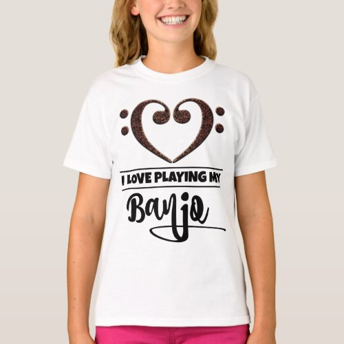 Double Bass Clef Heart I Love Playing My Banjo Musician Banjoist T-Shirt