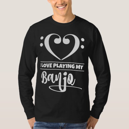 Double Bass Clef Heart I Love Playing My Banjo Musician T-Shirt