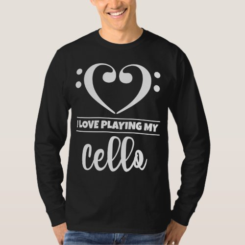 Double Bass Clef Heart I Love Playing My Cello Musician T-Shirt