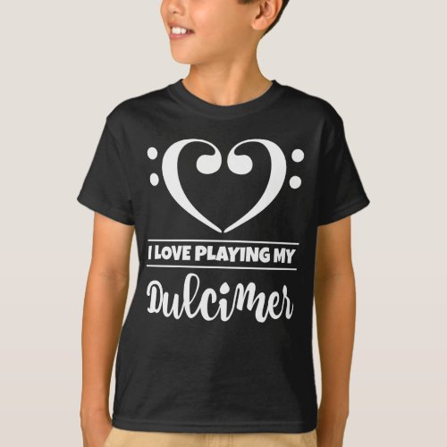 Double Bass Clef Heart I Love Playing My Dulcimer Musician Dulcimerist T-Shirt