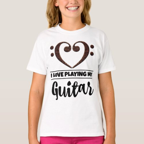 Double Bass Clef Heart I Love Playing My Guitar Musician Guitarist T-Shirt