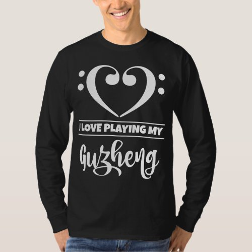 Double Bass Clef Heart I Love Playing My Guzheng Musician T-Shirt