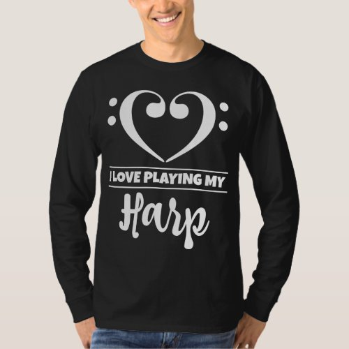 Double Bass Clef Heart I Love Playing My Harp Musician T-Shirt