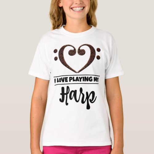 Double Bass Clef Heart I Love Playing My Harp Musician Harpist T-Shirt