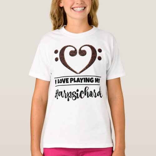 Double Bass Clef Heart I Love Playing My Harpsichord Musician Harpsichordist T-Shirt