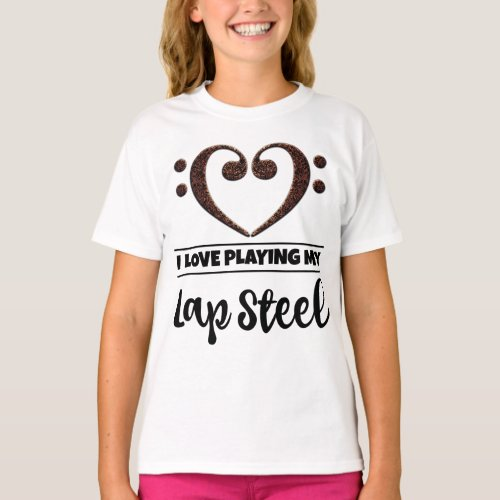 Double Bass Clef Heart I Love Playing My Lap Steel Guitar Musician Guitarist T-Shirt