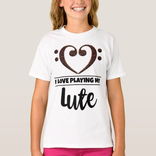 Double Bass Clef Heart I Love Playing My Lute Musician Lutenist T-Shirt