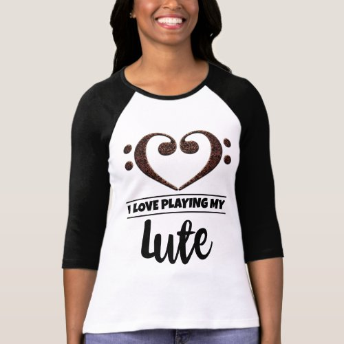 Double Bass Clef Heart I Love Playing My Lute Musician T-Shirt