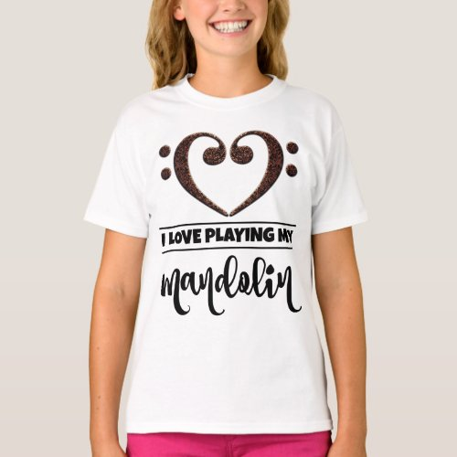Double Bass Clef Heart I Love Playing My Mandolin Musician Mandolinist T-Shirt
