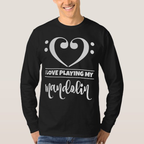 Double Bass Clef Heart I Love Playing My Mandolin Musician T-Shirt