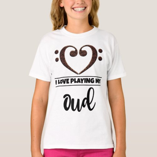 Double Bass Clef Heart I Love Playing My Oud Musician Oudist T-Shirt