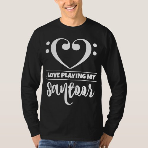 Double Bass Clef Heart I Love Playing My Santoor Musician T-Shirt