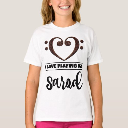 Double Bass Clef Heart I Love Playing My Sarod Musician Sarodist T-Shirt
