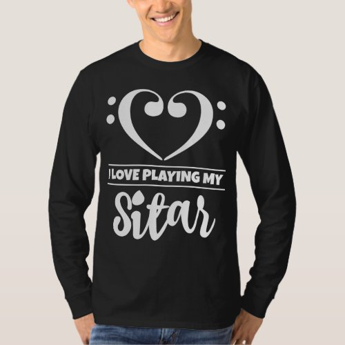 Double Bass Clef Heart I Love Playing My Sitar Musician T-Shirt