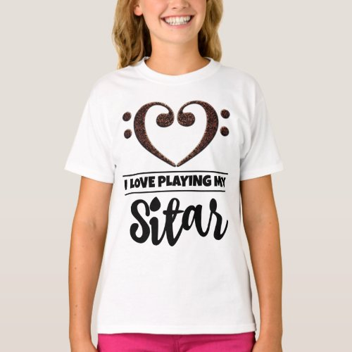 Double Bass Clef Heart I Love Playing My Sitar Musician Sitarist T-Shirt